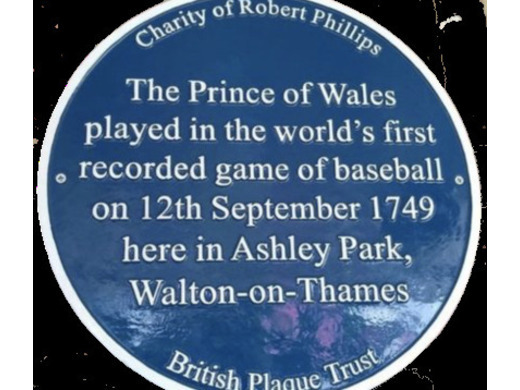 Blue plaque awarded to the first ever place of baseball played