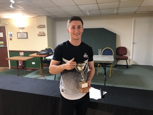 Declan Rapley collecting Nutty Runners-up Trophy