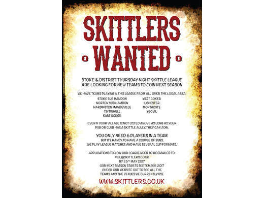 SKITTLERS WANTED