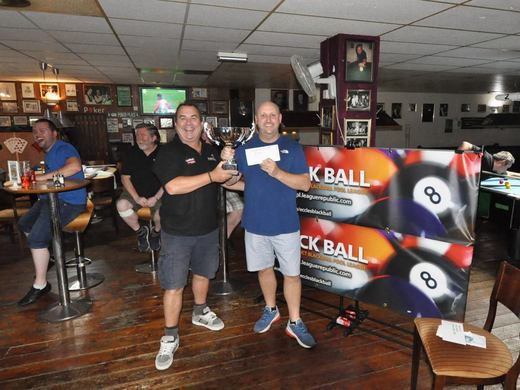 To the winner the spoils. Dave Spencer presenting the trophy to Steve Wall