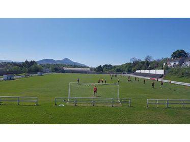 Westport United & Ballyheane warm up before their Super League clash