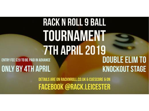 Rack N Roll 9 Ball Tournament April 2019