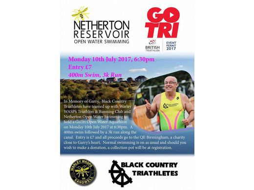 Aquathon Monday 10th July - Netherton in memory of Garry