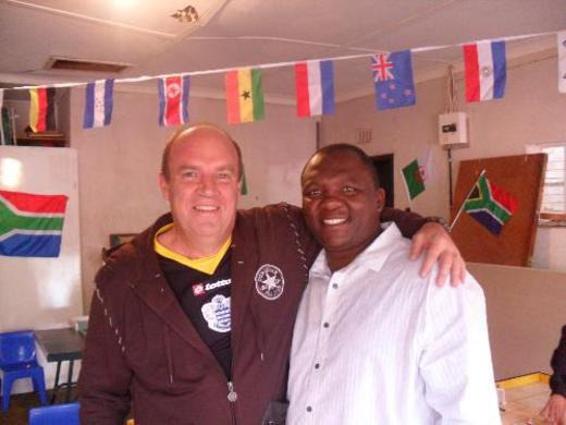 Ex South African boxing champion, Dingaan Thobela at a Subbuteo Fair in Johannes