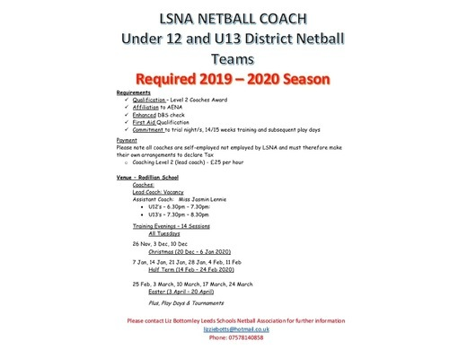 URGENT: Level 2 Netball Coach Required!