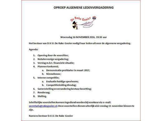 Ledenvergadering: woensdag 16 november