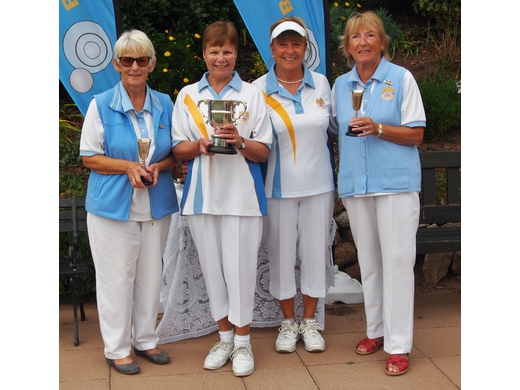 Ladies Pairs Champions Lin Halpin & Gloria Taylor with Janet Grundy & Ann Doidge