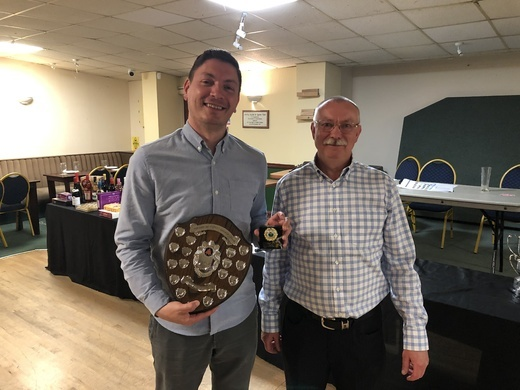 Dean Knight collecting Doubles Runners Up Trophy