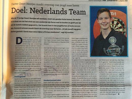Geert Nentjes prijkt in Sportbijlage 2016 van nieuwsblad Het Urkerland!