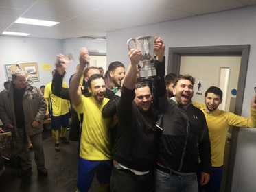 Maccabi Yellow - Trophy Lift - MJSL Premier Division Champions 2018-19