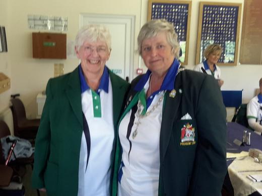 Jenny Charles with Bowls Devon Ladies President  Vicky Kingston