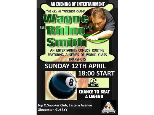 Wayne Rhino Smith & Gloucester Pool League Presentation Night 12th April 18:00