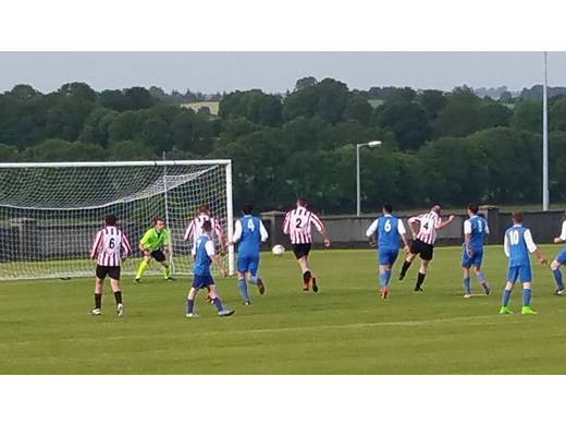 James Malone gives Ballyglass B a 2-1 lead against Partry Athletic