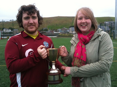 Stromness captain Darren Logan and Clark Thomson's Leanne Norquoy