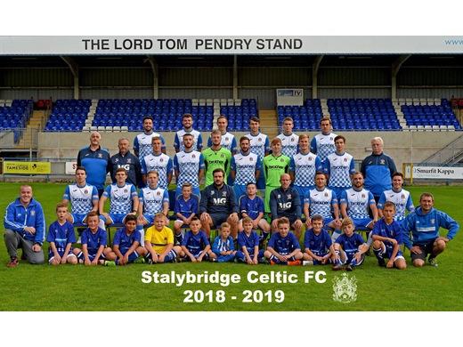 Stalybridge Celtic Colts Blues u11's with Stalybridge Celtics first team