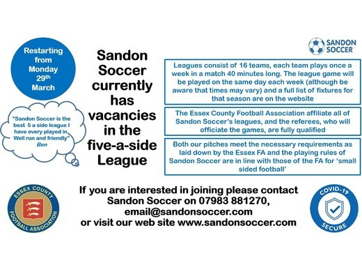 Sandon Soccer currently has vacancies in the five-a-side League