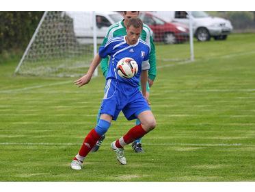 Dounby striker Steven Poke takes control