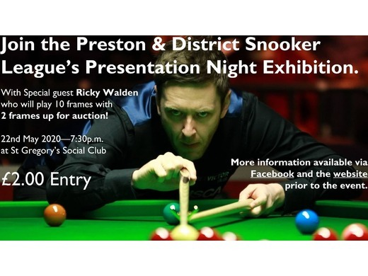 Dont miss PDSL Pres Night & Exhibition - 22nd May 2020 at St Gregs Club