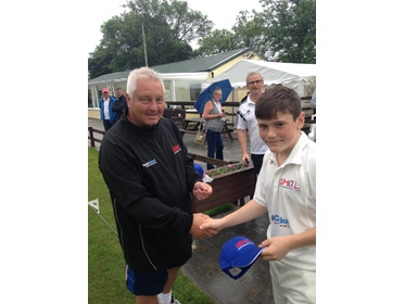 Martin Kay presents cap to GMCL Under 14s Captain Dan Ainscough