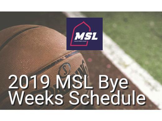 Fall 2019 Regular Season Bye Weeks Schedule