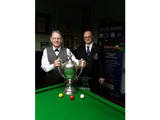 Alan Shepherd with 2016 Billiards Champion, Davy Sneddon