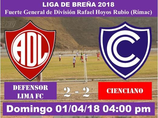 Defensor Lima FC 2 Cienciano 2