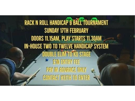 In-house 9 Ball Handicap Tournament (League & Local Players Only)