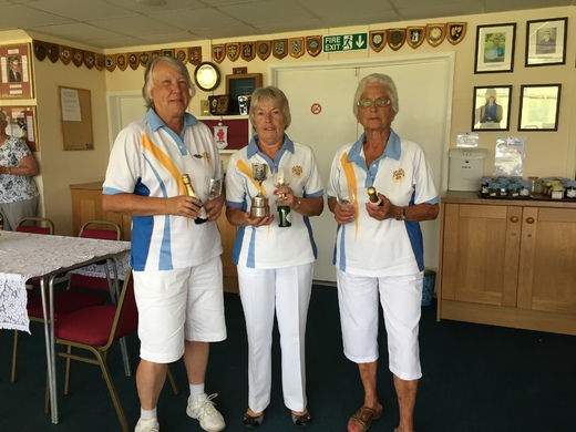 Lyn Hambly, Joan Mansell & Lynn Stubbings - Grace Mathews Triples winners