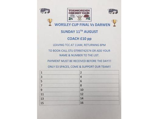 Worsley Cup Final Transport & Ticket Info
