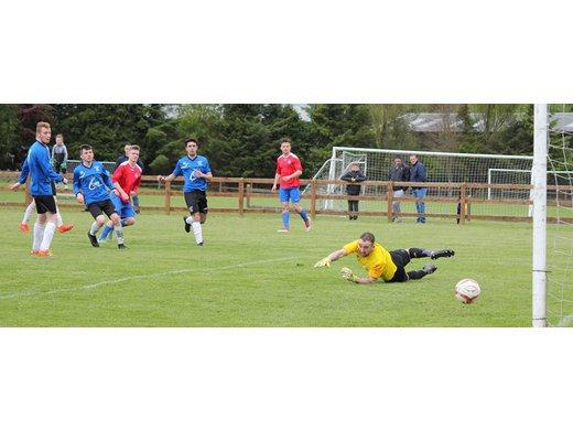 Dylan MCKee scores for Ballina Town v Kiltimagh/Knock Utd