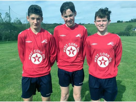 WCSL U15 Inter-League squad members Luke Hurley, Darragh Kelly & Robbie Lucey