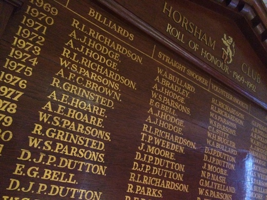 Tony Hodge Roll of Honour