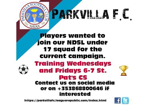 Parkvilla Under 17s require players