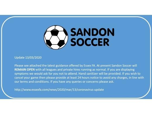 Corona virus Advice - Sandon Soccer Remains Open (Updated 13/3/20)
