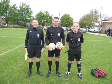 League Cup 2017 officials Matt Butcher, Mark James and Mel Deighton