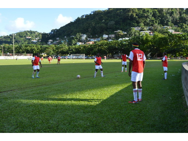 Defending Champs warm up before match against Real Old Men