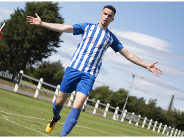 Ballina Town B's Dale Hopkins celebrates scoring his side second goal
