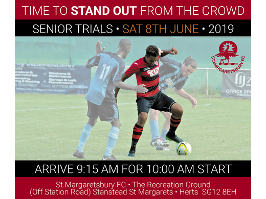 Senior trials Sat 8th June 9:15am for 10:00am start at club SG128EH