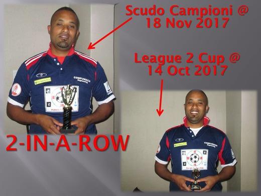 SCUDO CAMPIONI + LEAGUE 2 : Bevin Reed