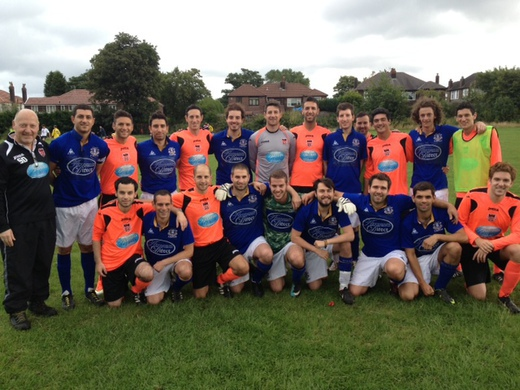 18-08-13 Maccabi Mcr just edged out the MJSL in Darren Rose Trophy winning 5-4 on penalties