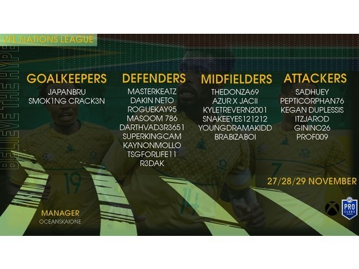 South Africa's 23-man VFL Nation's League Squad Announced