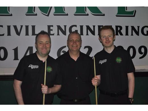 Willie Craig with John Higgins and Anthony McGill at the PMK Pro Am
