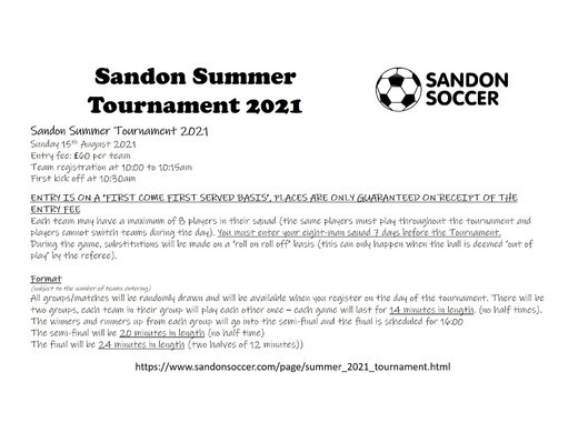 Sandon Summer Tournament 2021