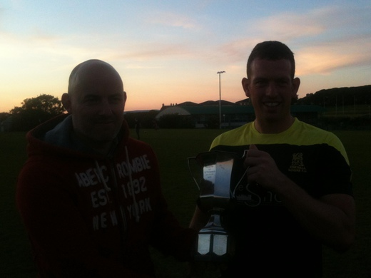 Davie Leonard gets Brough Cup from Andy Corsie