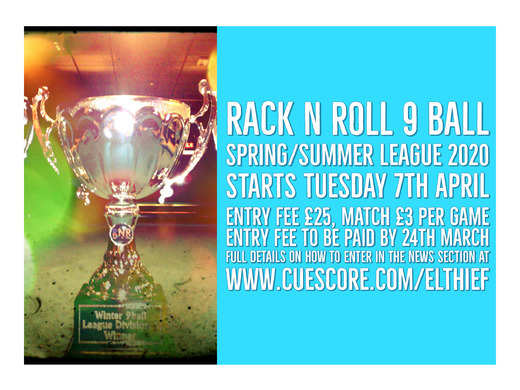 Rack N Roll Spring/Summer 9 Ball League Sign up Now Open