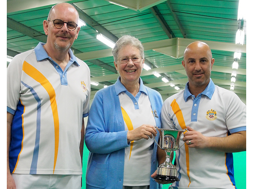 Club President, Jacky Howle with Mens two wood Singles finalists - 2019