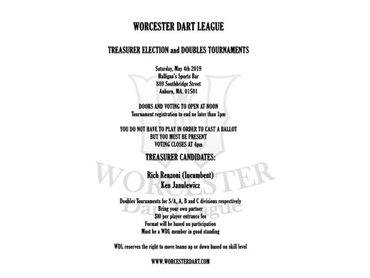 WDL Spring Doubles and Treasurer Election