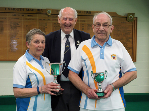 Sue Harriott and Bob Walker - Bob Caddy Two wood Singles Champion & Runner-up