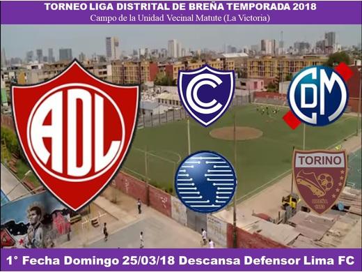 Primera Fecha Liga Distrital de Breña 2018.