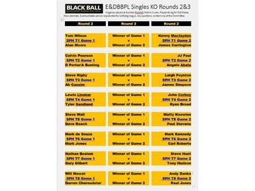E&DBBPL Singles KO Fixtures 2nd round 2017